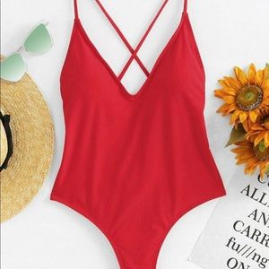 Brand New Red Cheeky One Piece Bathing Suit